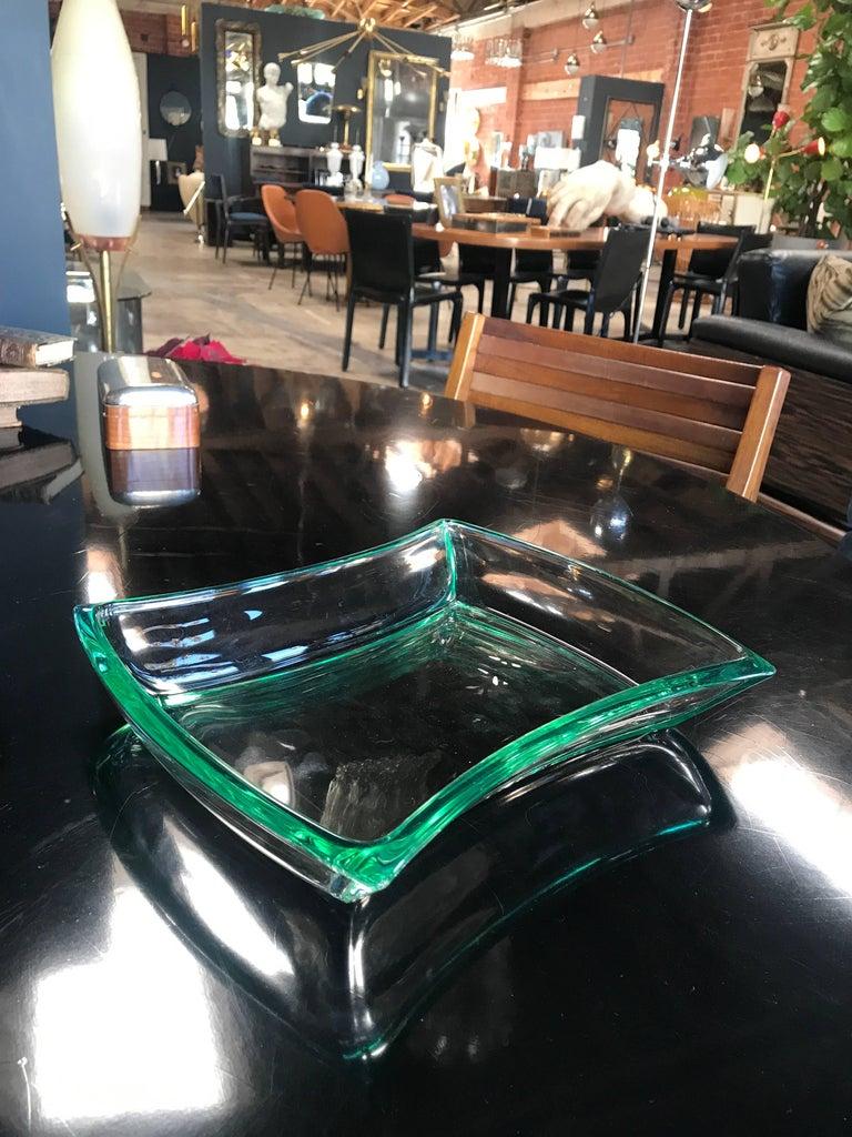Very elegant glass bowl Aquamarine by Fontana Arte.