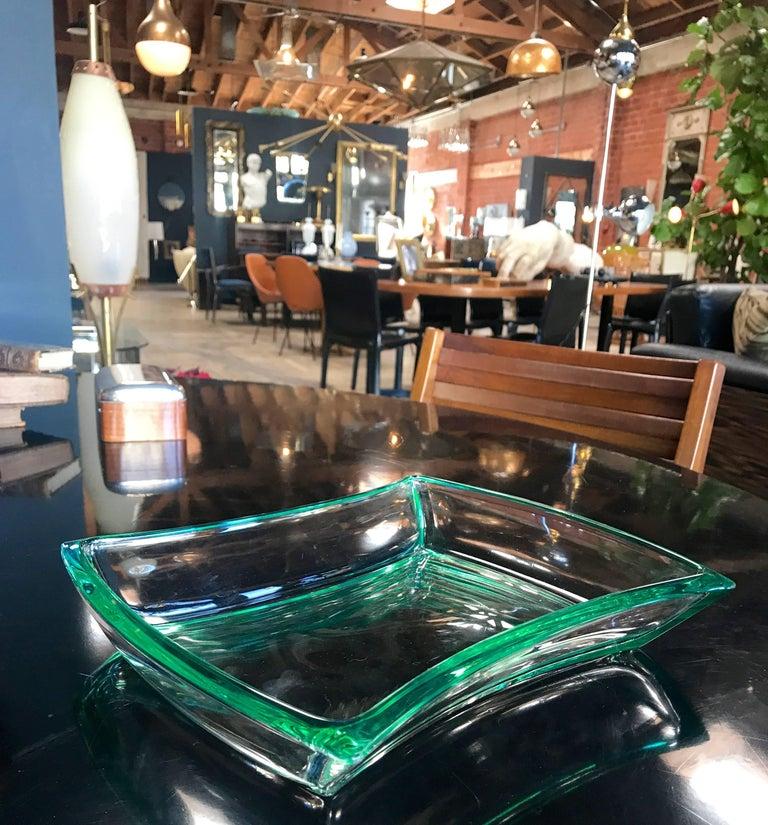 Fontana Arte Aquamarine Glass Bowl For Sale 1