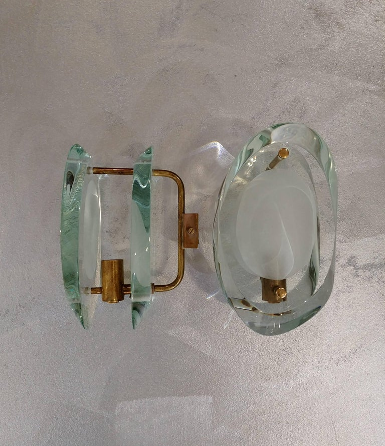 Italian Sconces in the style of Fontana Arte, Italy, 1955 For Sale