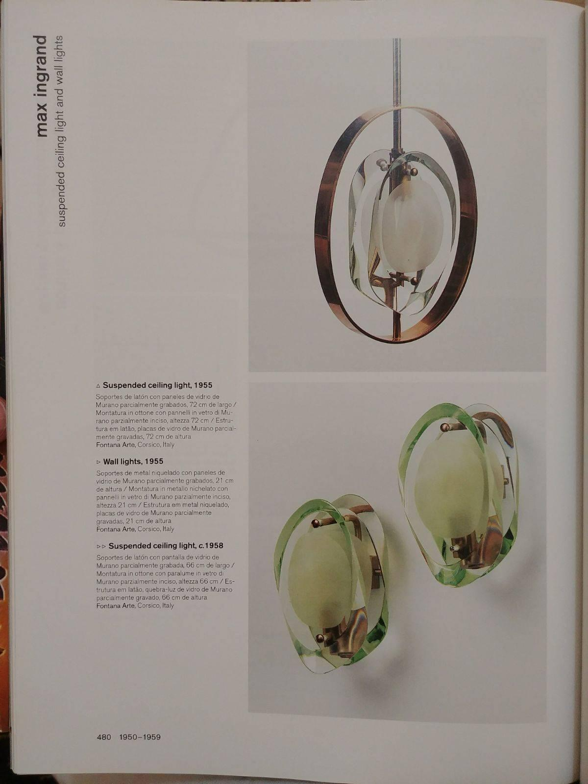 Sconces in the style of Fontana Arte, Italy, 1955 For Sale at 1stdibs