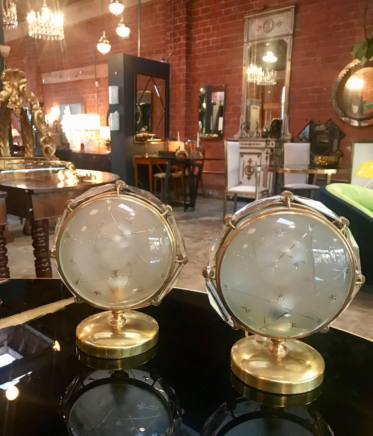 Pair of Italian table lamps in brass and worked glass.