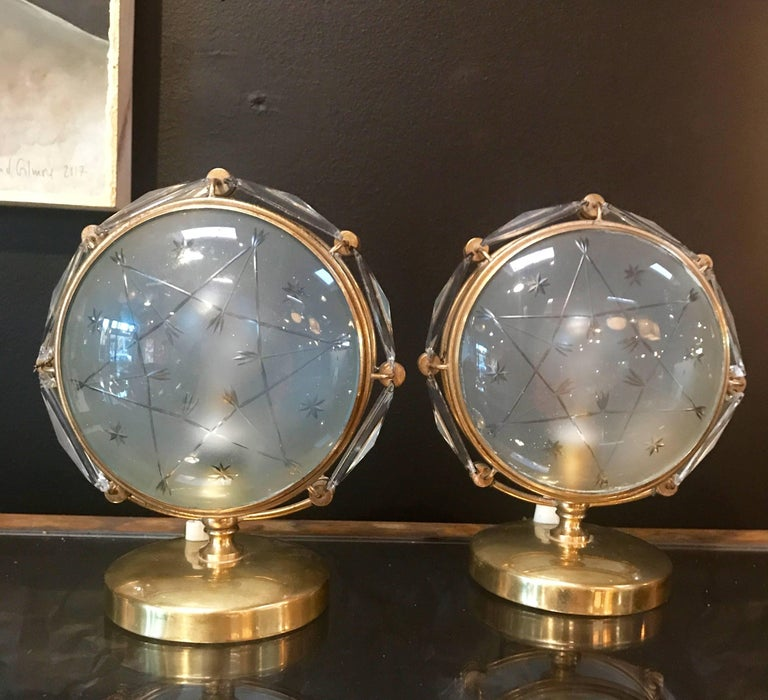 Italian Table Lamps in Brass and Worked Glass For Sale 3