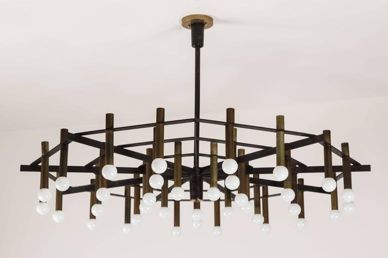"Rare 'Spiderweb"" Chandelier by Stilnovo In Excellent Condition For Sale In Los Angeles, CA"