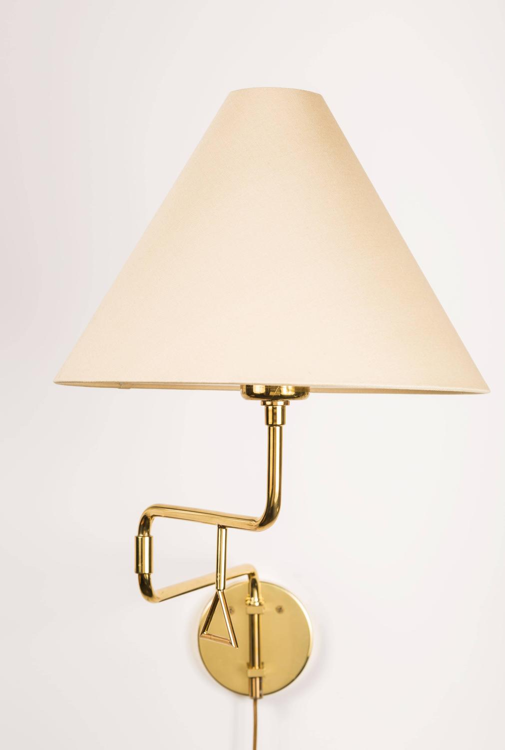 Pair of Brass Pivoting Sconces Made in Sweden at 1stdibs