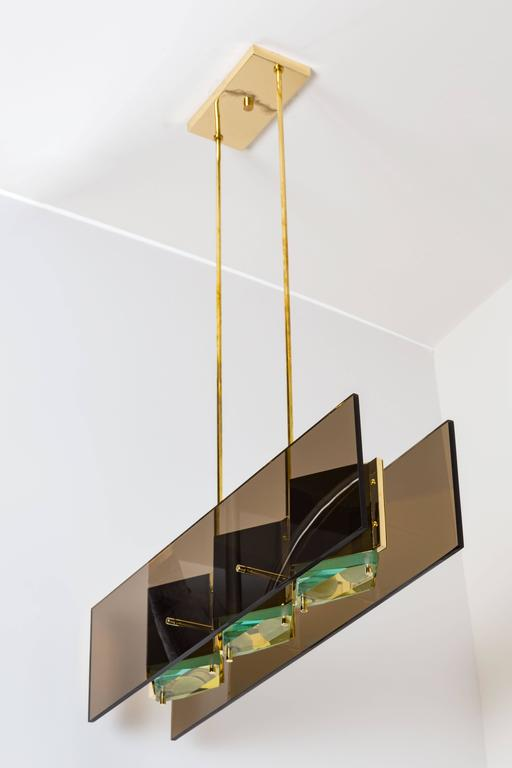 Stilnovo Chandelier with Brass Shades and Green Glass Diffusers 2