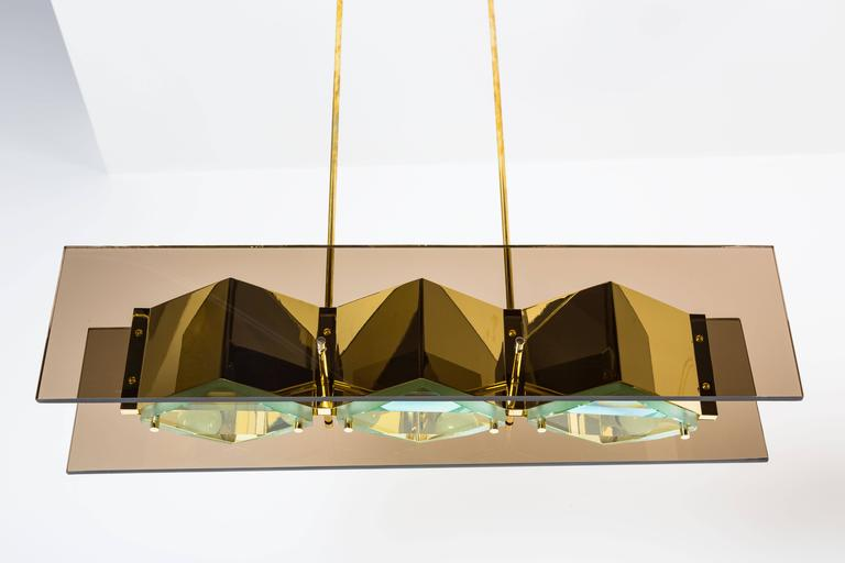 Stilnovo Chandelier with Brass Shades and Green Glass Diffusers 5