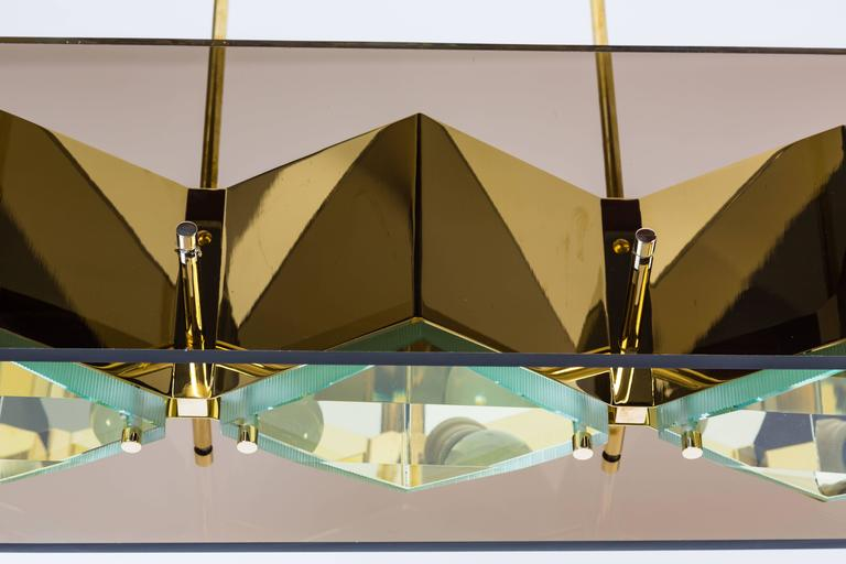 Stilnovo Chandelier with Brass Shades and Green Glass Diffusers 7