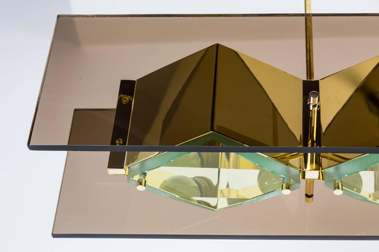 Stilnovo Chandelier with Brass Shades and Green Glass Diffusers 6