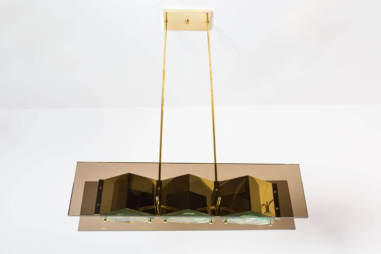 Stilnovo Chandelier with Brass Shades and Green Glass Diffusers 4