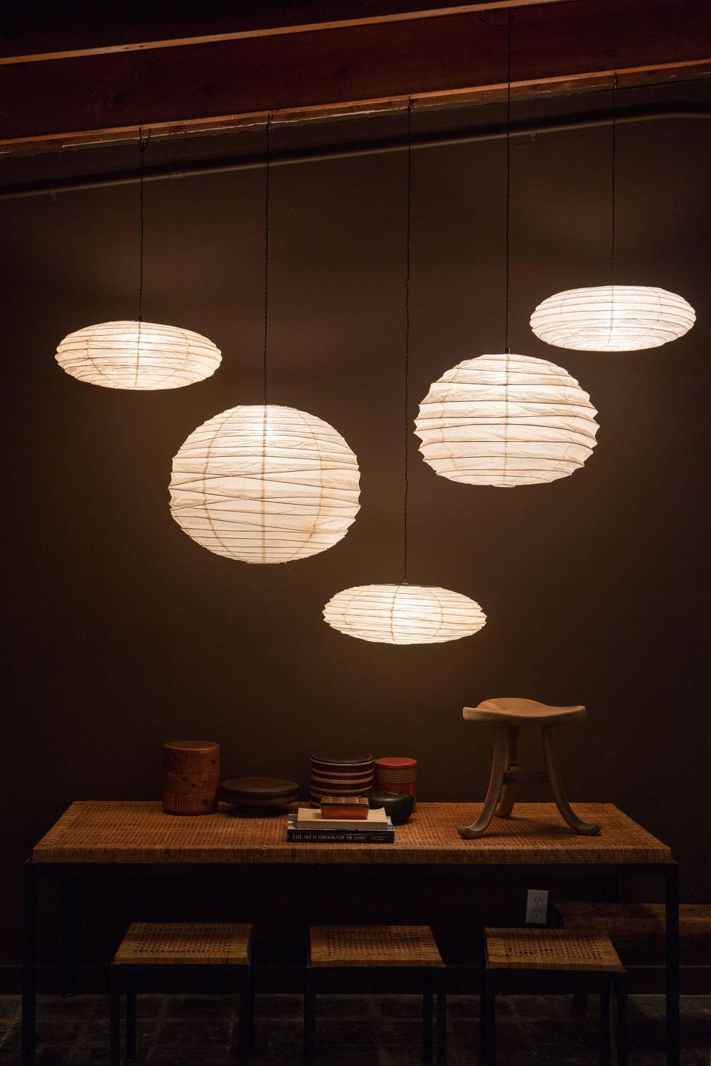Collection of five light sculptures by isamu noguchi for for Noguchi lighting