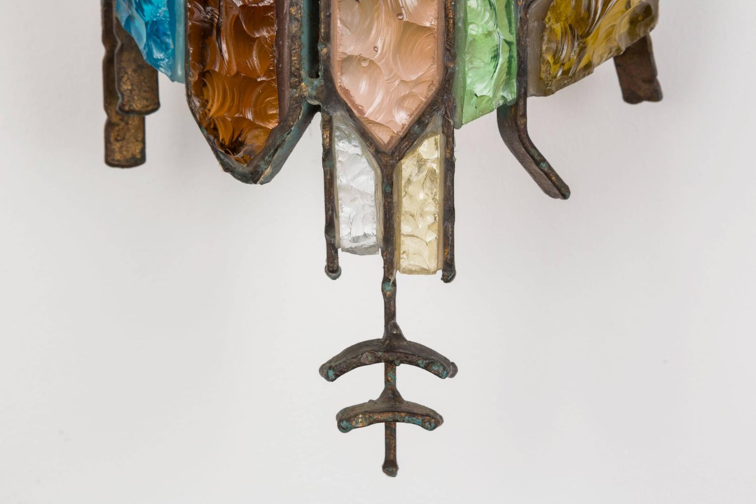 Six Stained Glass Sconces in the Style of Poliarte For Sale at 1stdibs