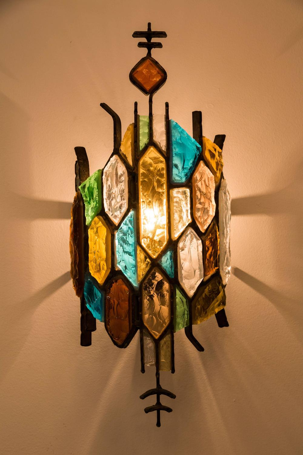 Stained Glass Light Fixtures Wall Sconces : Six Stained Glass Sconces in the Style of Poliarte For Sale at 1stdibs