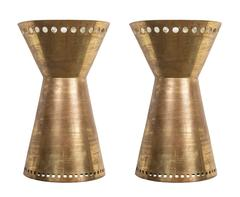 Pair of Custom Brass Sconces Made in Italy