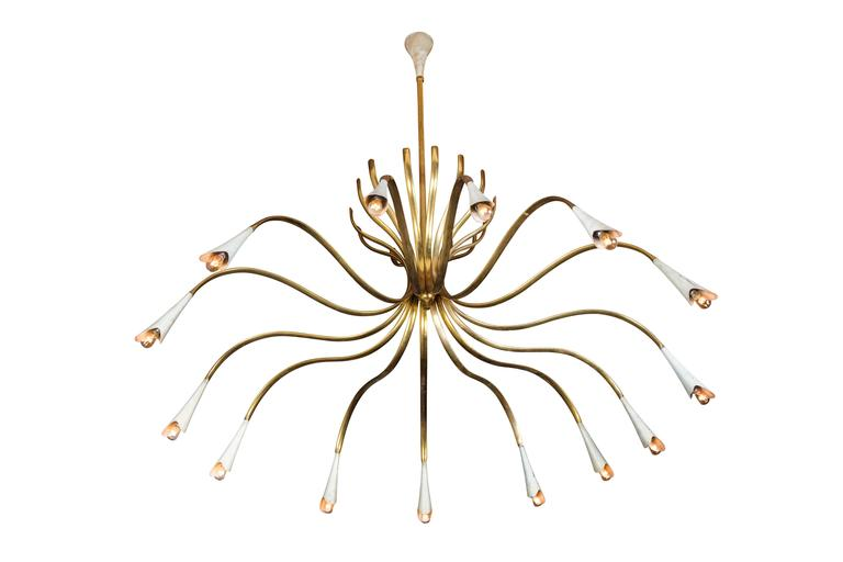 Mid-Century Modern  Rare Extra Large Fourteen-Arm Chandelier by Oscar Torlasco For Sale