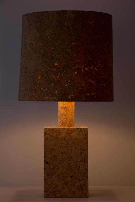Cork table lamp with cork shade for sale at 1stdibs for Wine cork lampshade