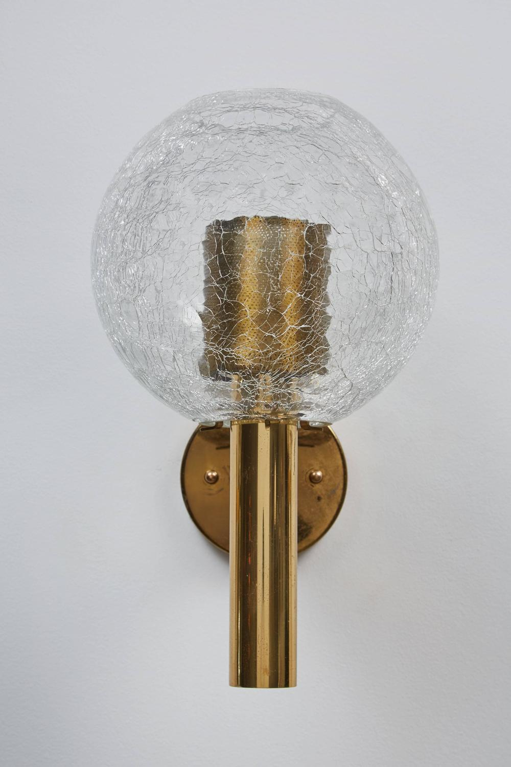 Crackle Glass Wall Sconces : Three Crackled Glass Sconces by Aredoluce For Sale at 1stdibs
