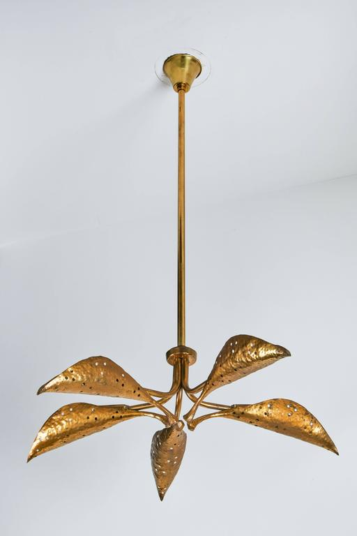 "Rare Italian Five-Arm Solid Brass ""Leaf"" Chandelier by Angelo Lelli 4"