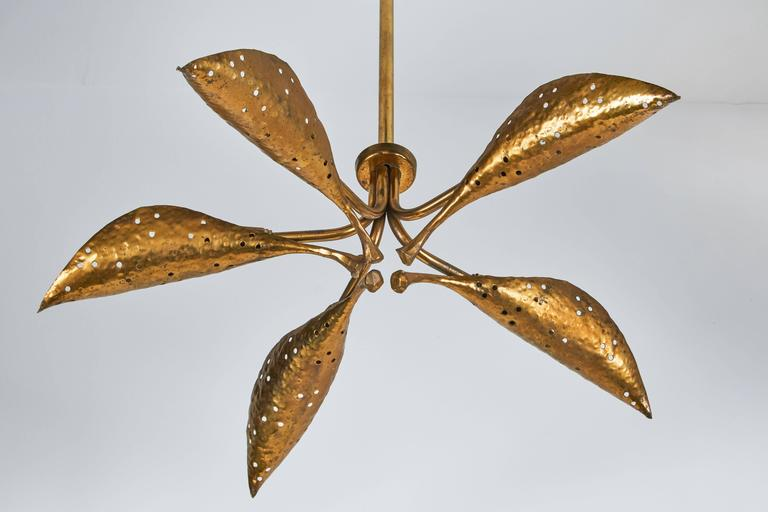 "Rare Italian Five-Arm Solid Brass ""Leaf"" Chandelier by Angelo Lelli 5"