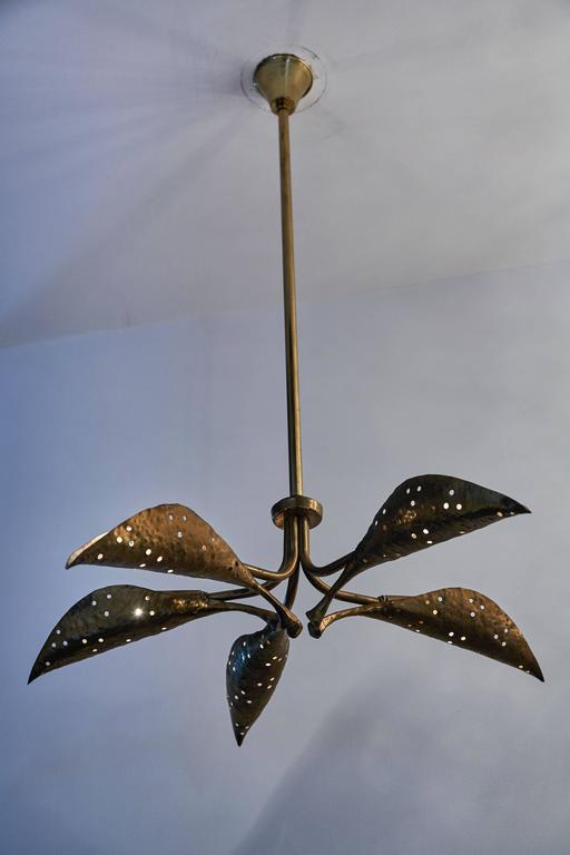 "Rare Italian Five-Arm Solid Brass ""Leaf"" Chandelier by Angelo Lelli 2"