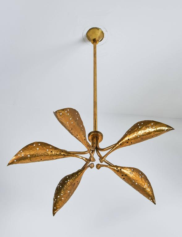 "Rare Italian Five-Arm Solid Brass ""Leaf"" Chandelier by Angelo Lelli 3"