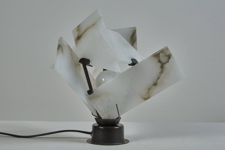 Enameled Flower Table Lamp by Pierre Chareau Model FLE 130 A For Sale