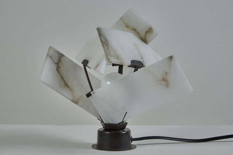 Flower Table Lamp by Pierre Chareau Model FLE 130 A In Excellent Condition For Sale In Los Angeles, CA