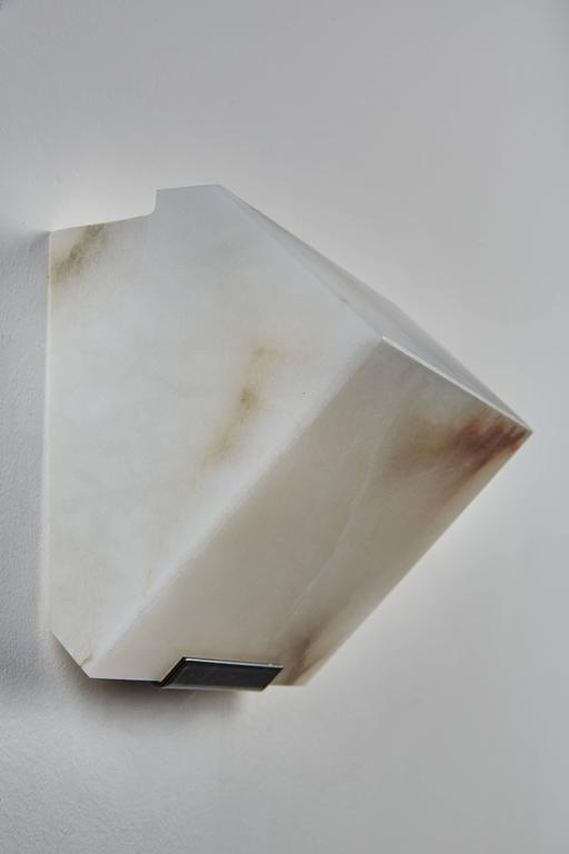 Simple Sloping Block Wall Lamp by Pierre Chareau Model SBA 108 In Excellent Condition For Sale In Los Angeles, CA