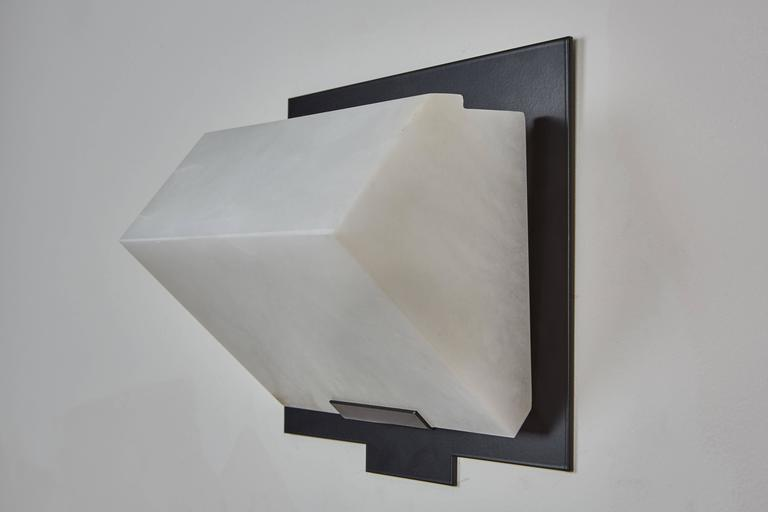 Simple Sloping Block Wall Lamp by Pierre Chareau Model SBA 118 In New Condition For Sale In Los Angeles, CA