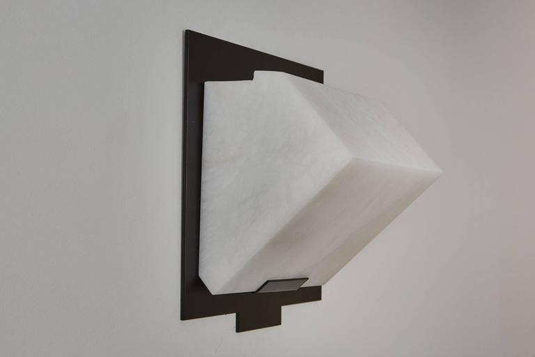 Painted Simple Sloping Block Wall Lamp by Pierre Chareau Model SBA 118 For Sale