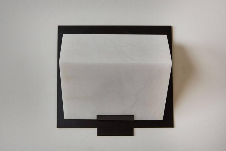 Contemporary Simple Sloping Block Wall Lamp by Pierre Chareau Model SBA 118 For Sale