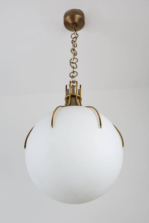 Large Brass and Glass Italian Pendant 6
