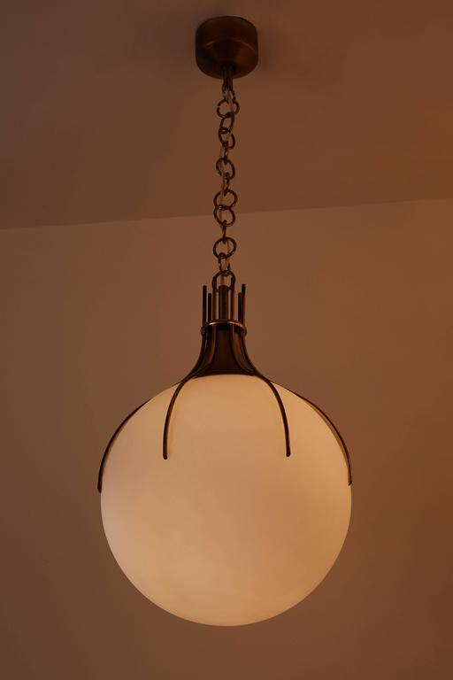 Large Brass and Glass Italian Pendant 2