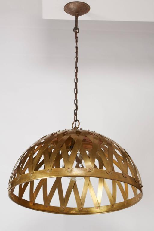 Mid-Century Modern Woven Brass Italian Chandelier For Sale