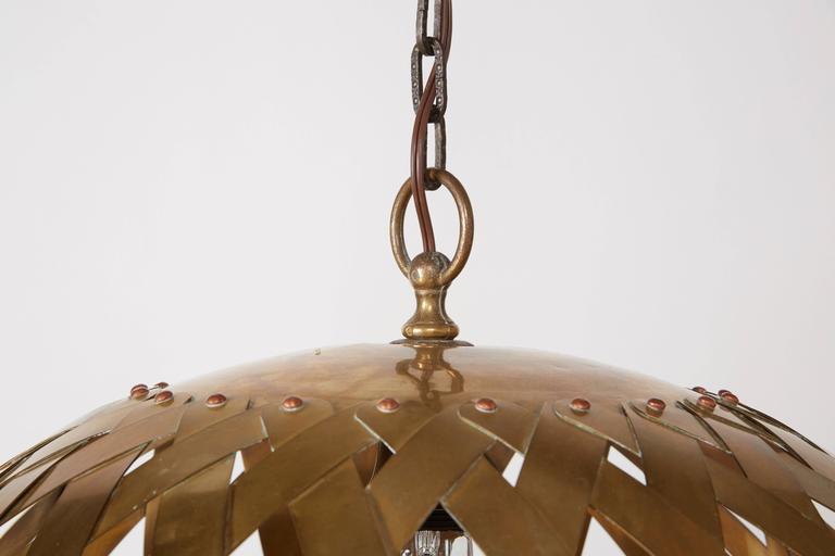 Woven Brass Italian Chandelier For Sale 3