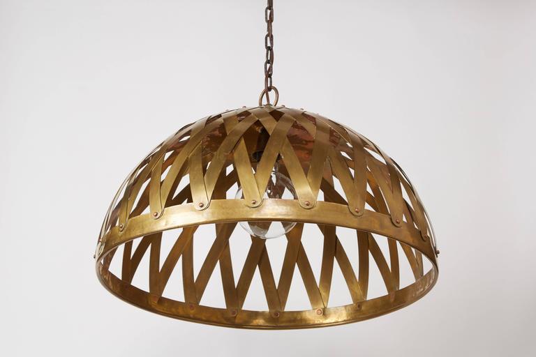 Late 20th Century Woven Brass Italian Chandelier For Sale
