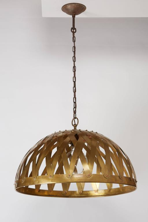 Woven Brass Italian Chandelier In Good Condition For Sale In Los Angeles, CA