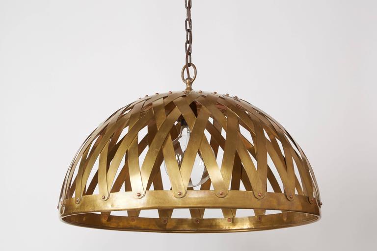 Woven Brass Italian Chandelier For Sale 1