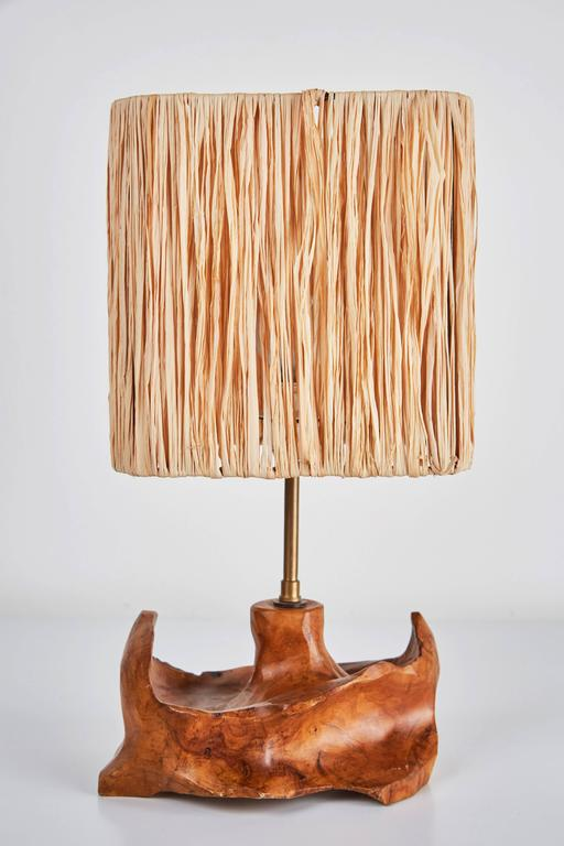 Mid-20th Century Pair of French Sculpted Wood Table Lamps For Sale