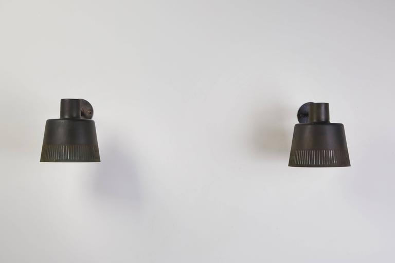 Pair of Model 1006 A Patinated Copper Exterior Sconces by Hans Bergström For Sale 2