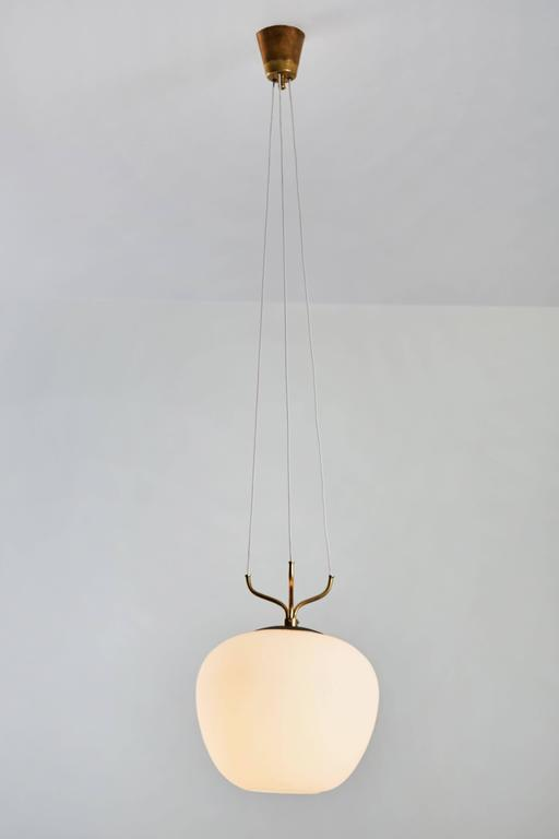 Glass and Brass Suspension Pendant by Stilnovo 3
