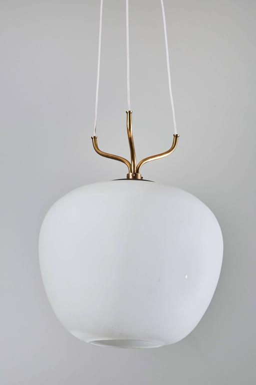 Glass and Brass Suspension Pendant by Stilnovo 4