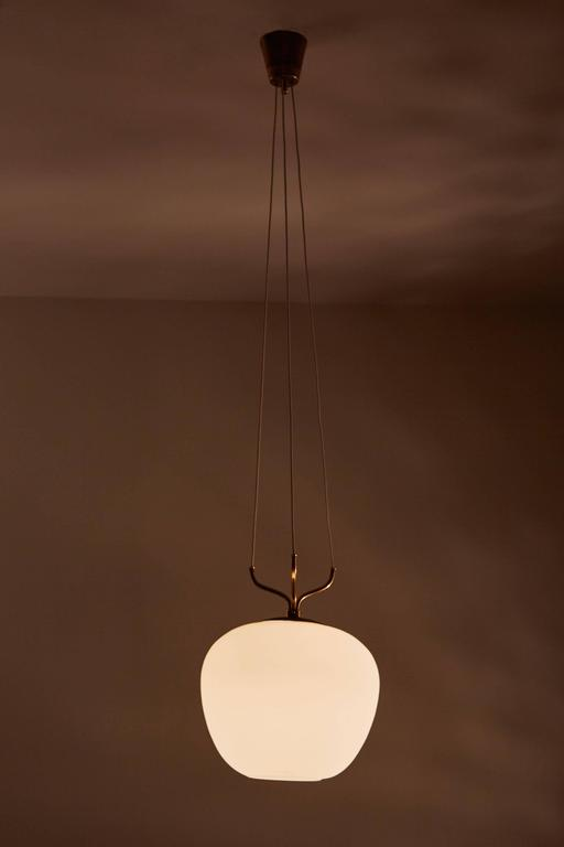 Glass and Brass Suspension Pendant by Stilnovo 2
