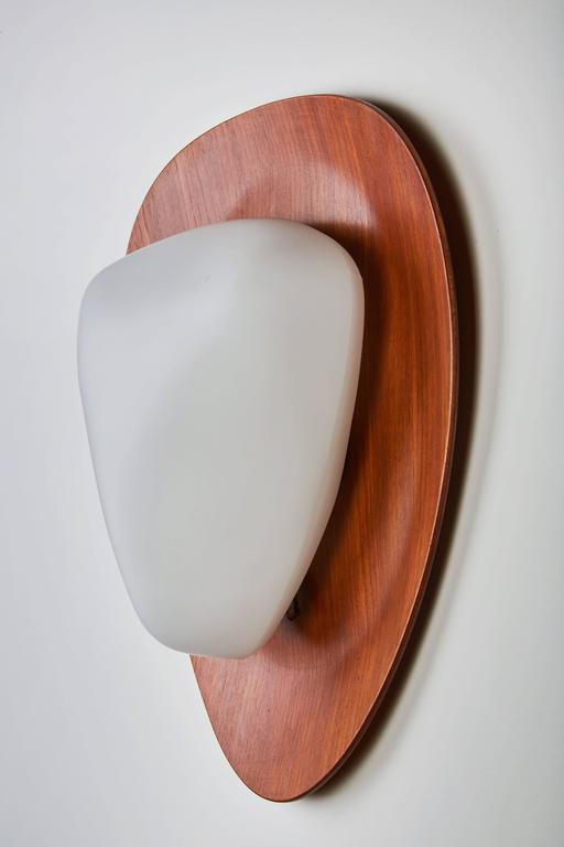 Mid-Century Modern Two Glass and Teak Sconces by Goffredo Reggiani For Sale