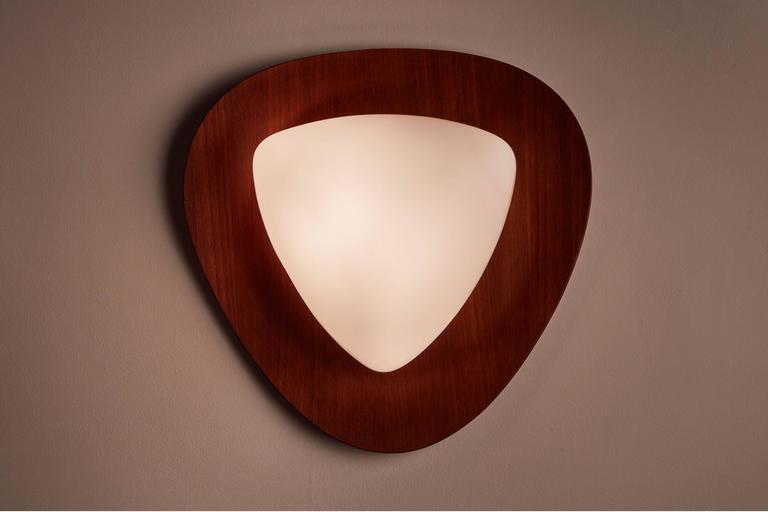 Four Glass and Teak Sconces by Goffredo Reggiani 2