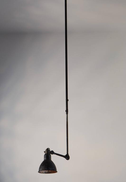 Steel Model No. 302 Adjustable Ceiling Light by Gras Ravel For Sale