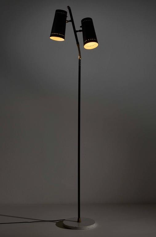 Mid-Century Modern Double Shade Floor Lamp by Stilux For Sale