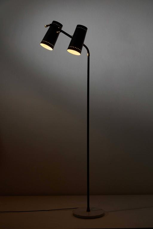 Italian Double Shade Floor Lamp by Stilux For Sale