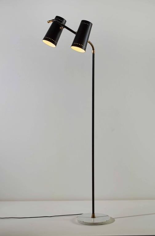 Double Shade Floor Lamp by Stilux In Excellent Condition For Sale In Los Angeles, CA