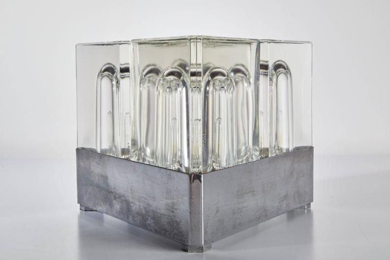 Late 20th Century Steel and Cut-Glass Table Lamp in the style of Alessandro Medini, circa 1970 For Sale
