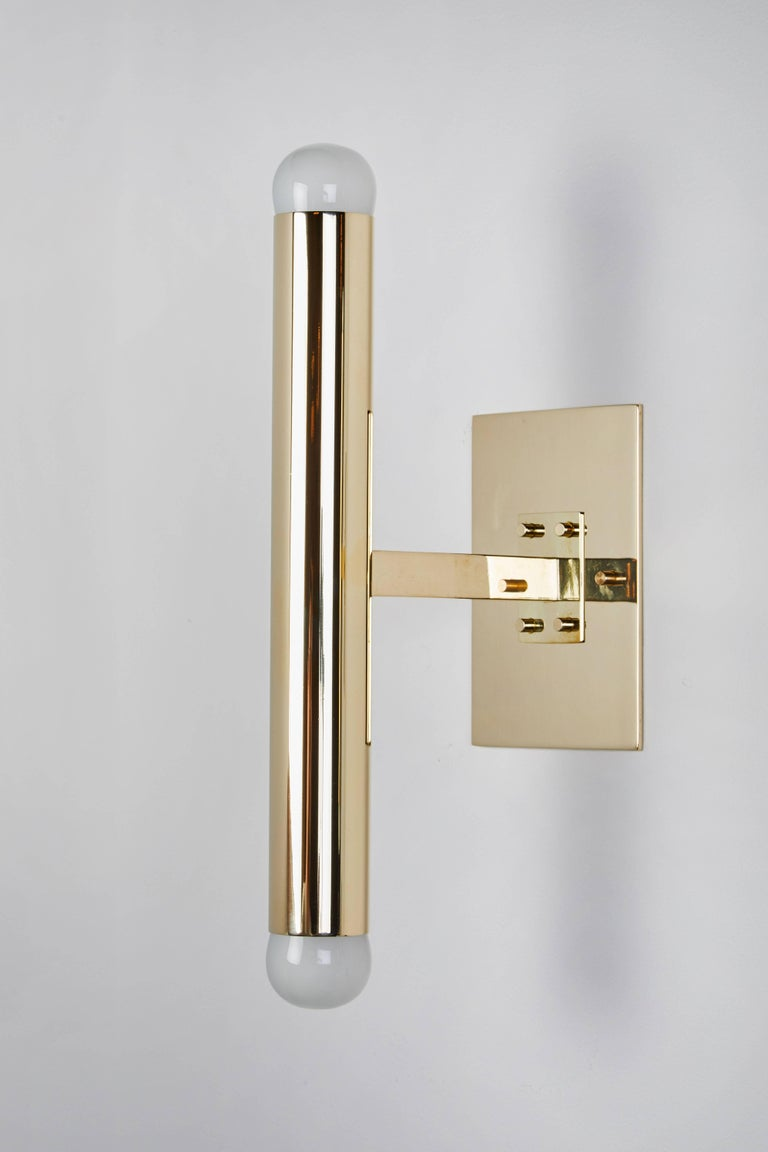 Set of Four Italian Brass Tubular Sconces In Excellent Condition For Sale In Los Angeles, CA